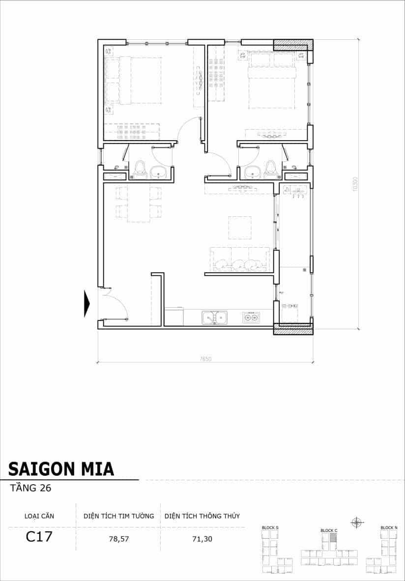 Chi tiết mặt bằng căn hộ tầng 22-23-24-25-26 block North Sài Gòn Mia-Căn C17