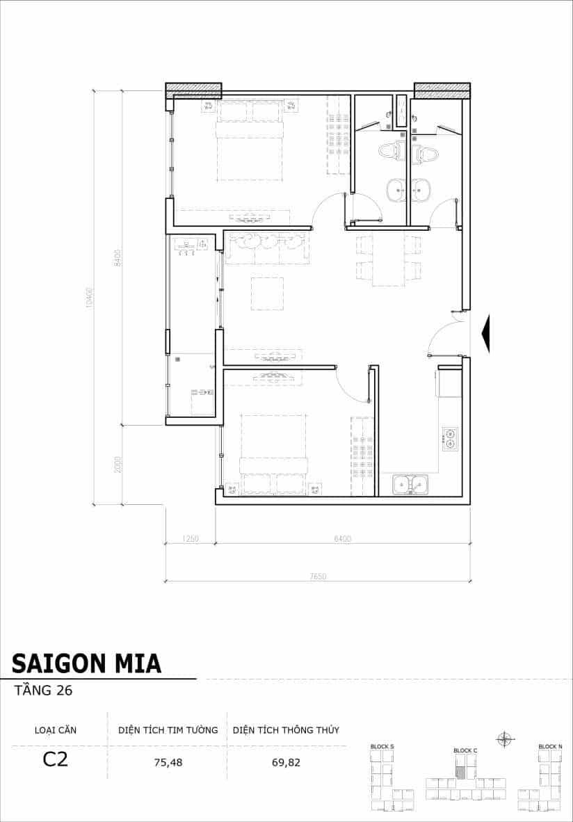 Chi tiết mặt bằng căn hộ tầng 22-23-24-25-26 block North Sài Gòn Mia-Căn C2
