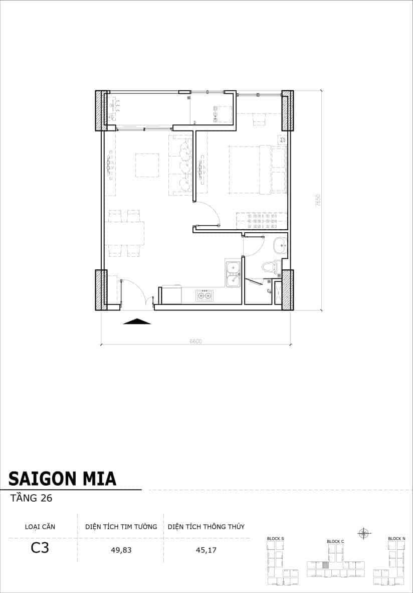 Chi tiết mặt bằng căn hộ tầng 22-23-24-25-26 block North Sài Gòn Mia-Căn C3