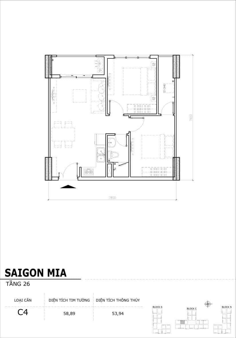 Chi tiết mặt bằng căn hộ tầng 22-23-24-25-26 block North Sài Gòn Mia-Căn C4