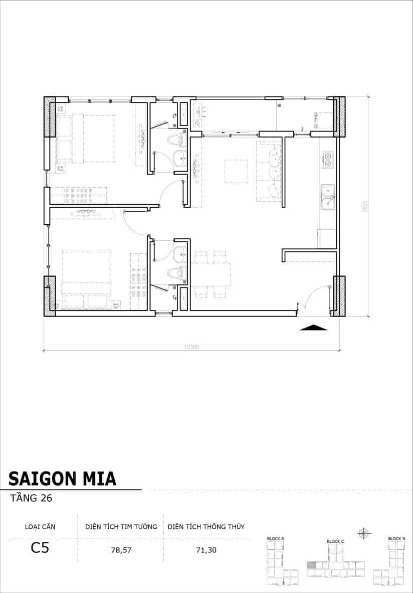 Chi tiết mặt bằng căn hộ tầng 22-23-24-25-26 block North Sài Gòn Mia-Căn C5