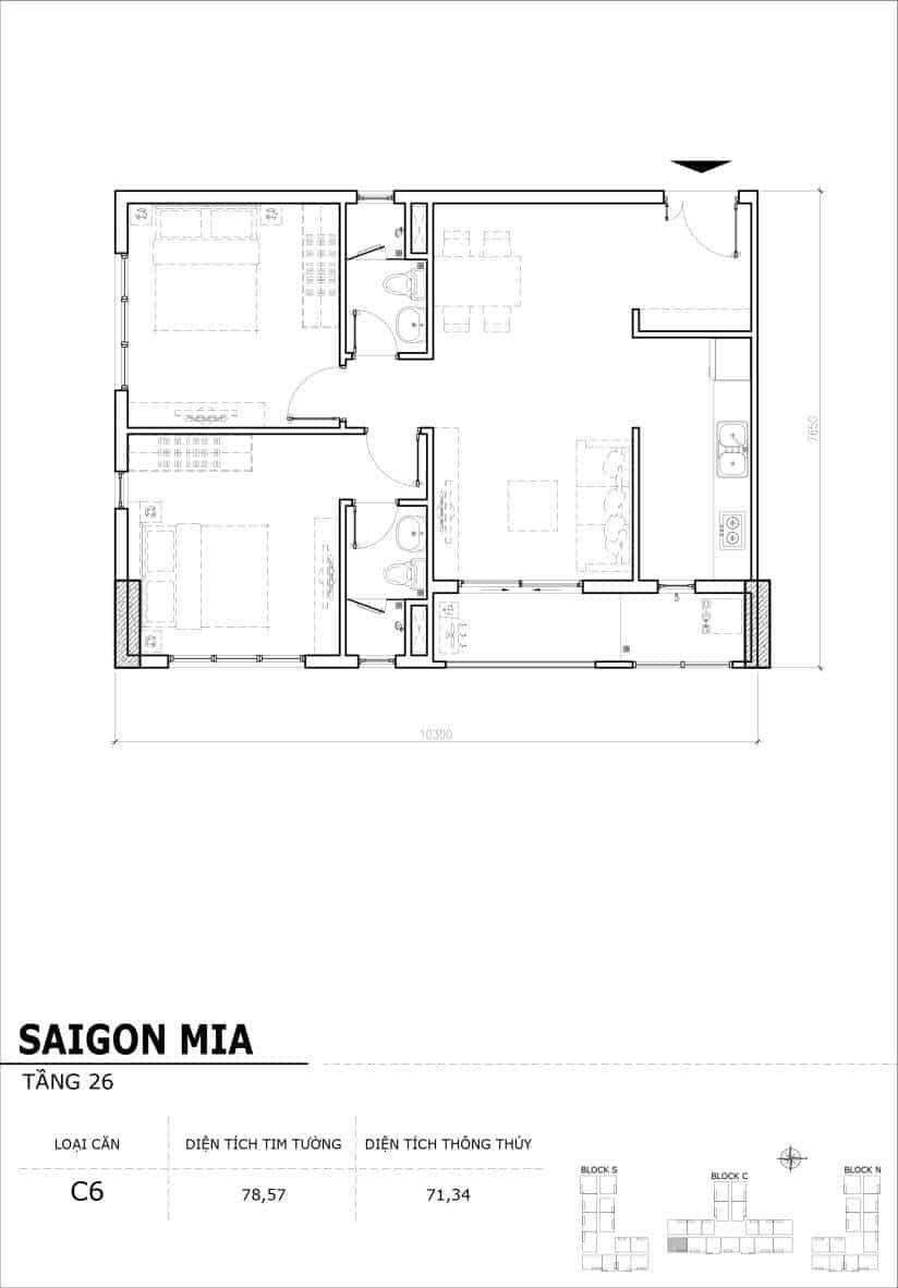 Chi tiết mặt bằng căn hộ tầng 22-23-24-25-26 block North Sài Gòn Mia-Căn C6