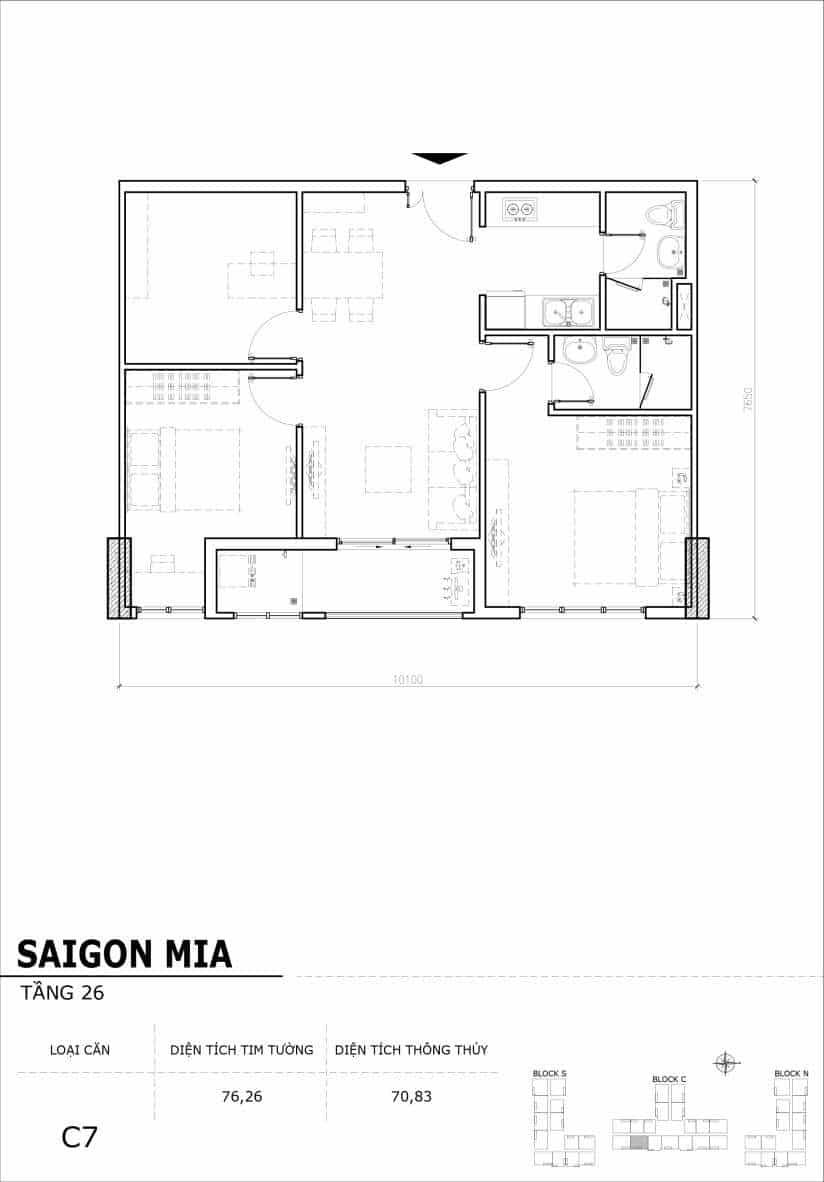 Chi tiết mặt bằng căn hộ tầng 22-23-24-25-26 block North Sài Gòn Mia-Căn C7