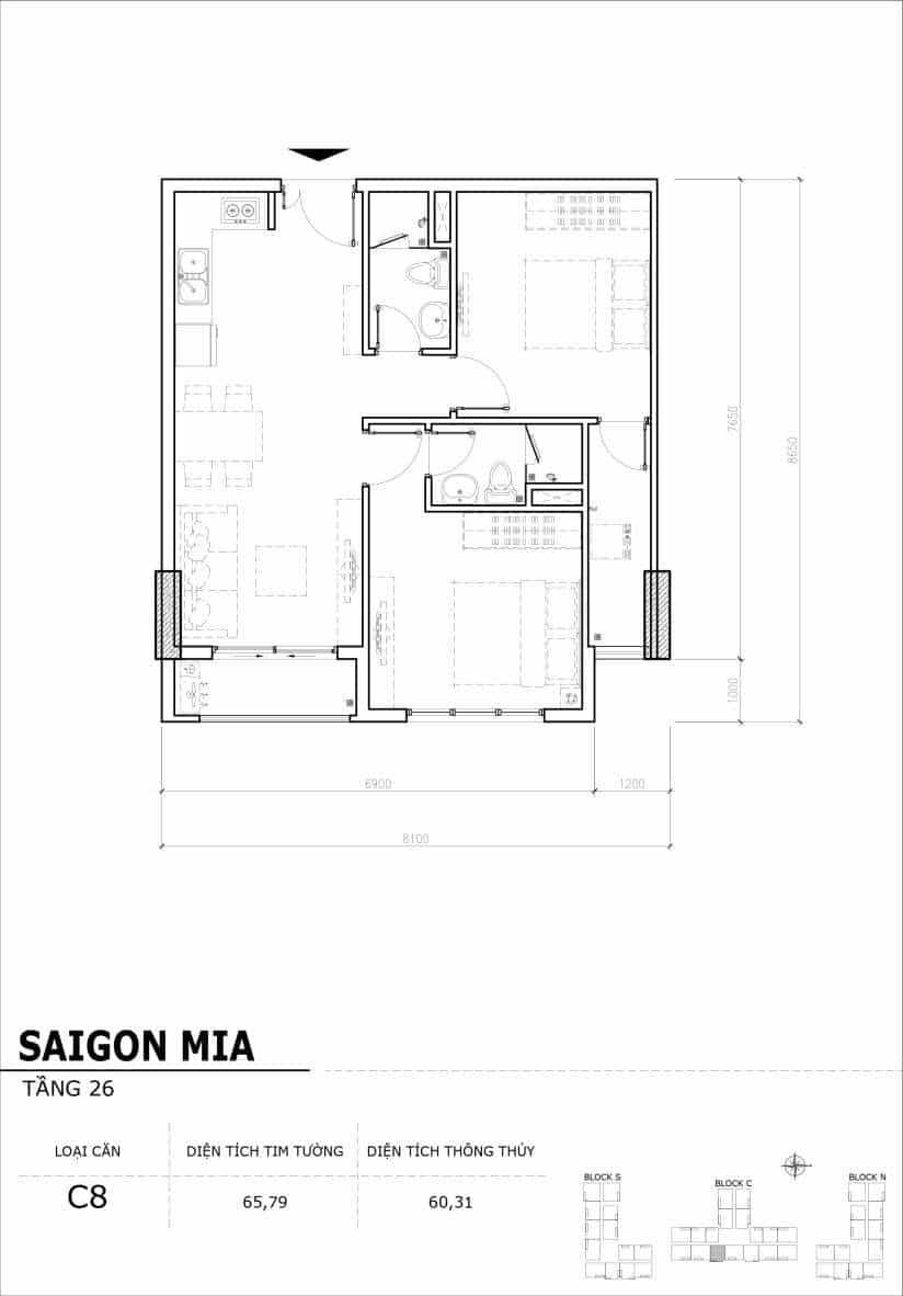 Chi tiết mặt bằng căn hộ tầng 22-23-24-25-26 block North Sài Gòn Mia-Căn C8