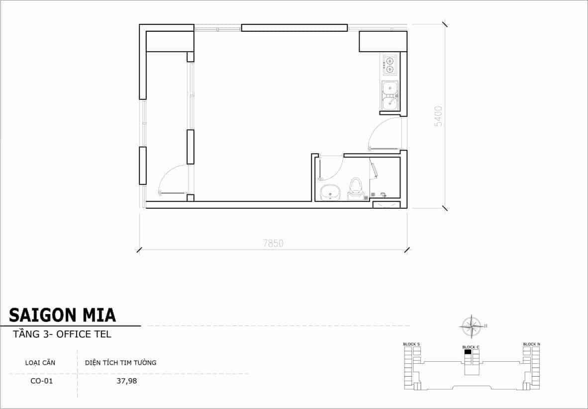 Chi tiết thiết kế Officetel Sài gòn Mia căn CO-01 (Tầng 3)