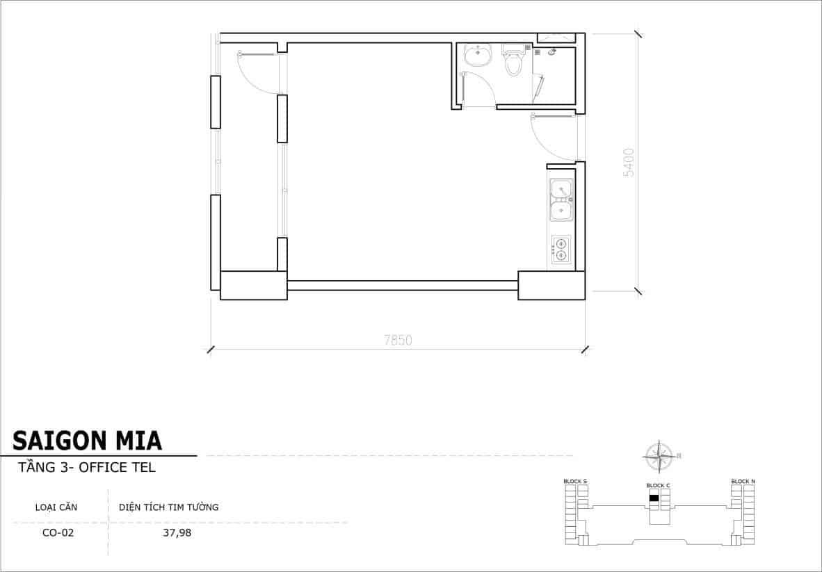Chi tiết thiết kế Officetel Sài gòn Mia căn CO-02 (Tầng 3)