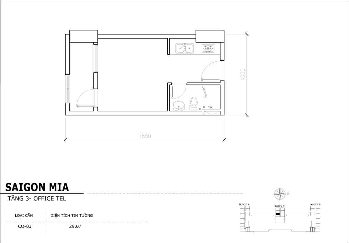 Chi tiết thiết kế Officetel Sài gòn Mia căn CO-03 (Tầng 3)