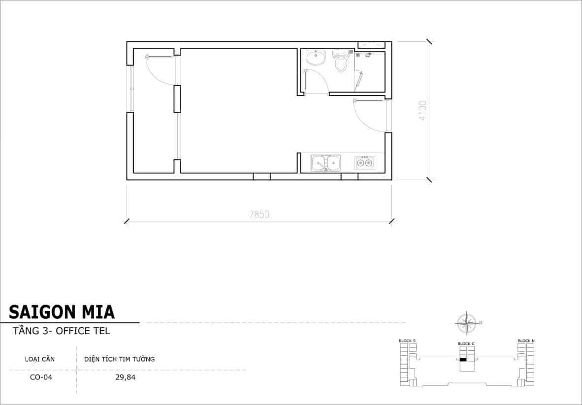 Chi tiết thiết kế Officetel Sài gòn Mia căn CO-04 (Tầng 3)