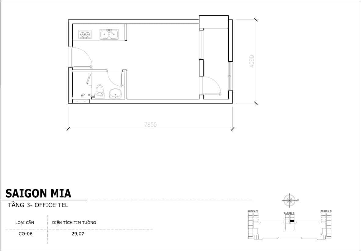 Chi tiết thiết kế Officetel Sài gòn Mia căn CO-06 (Tầng 3)