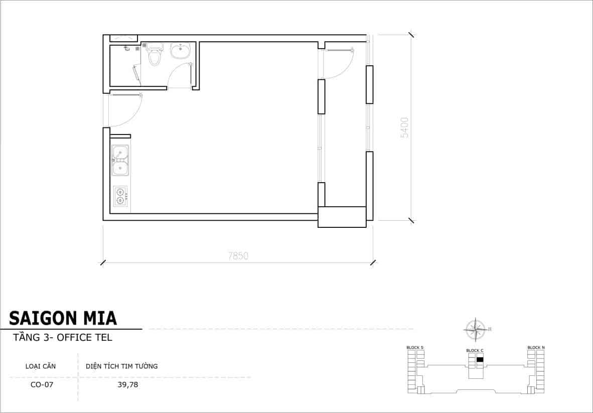 Chi tiết thiết kế Officetel Sài gòn Mia căn CO-07 (Tầng 3)