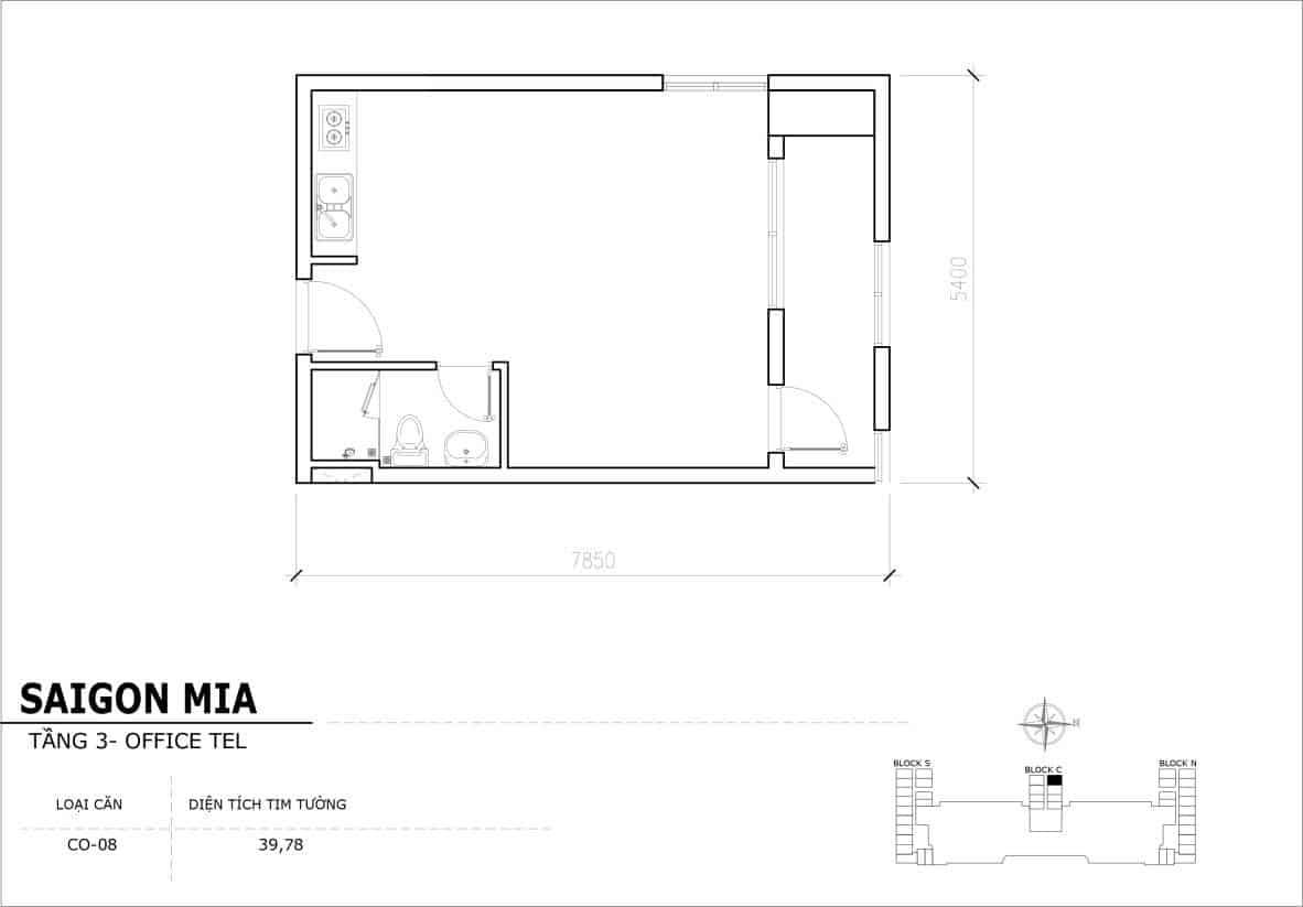 Chi tiết thiết kế Officetel Sài gòn Mia căn CO-08 (Tầng 3)