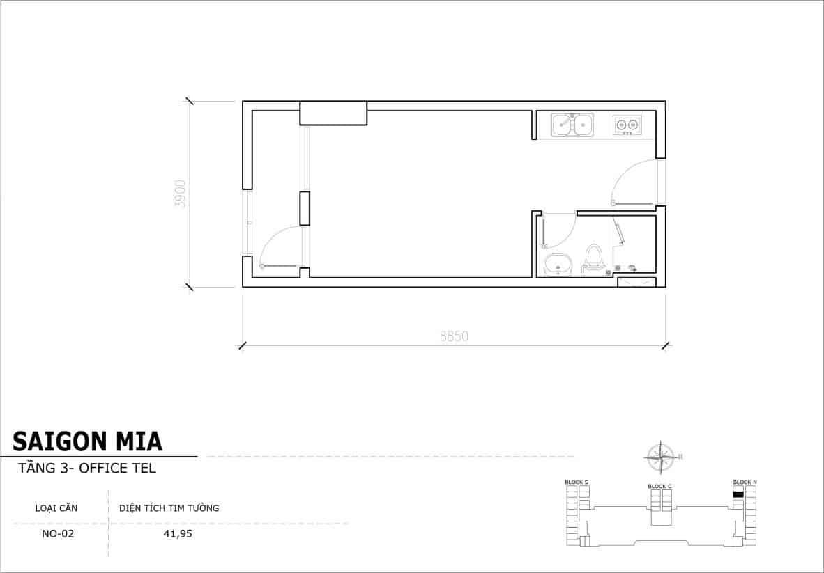 Chi tiết thiết Officetel Sài gòn Mia căn NO-02 (Tầng 3)