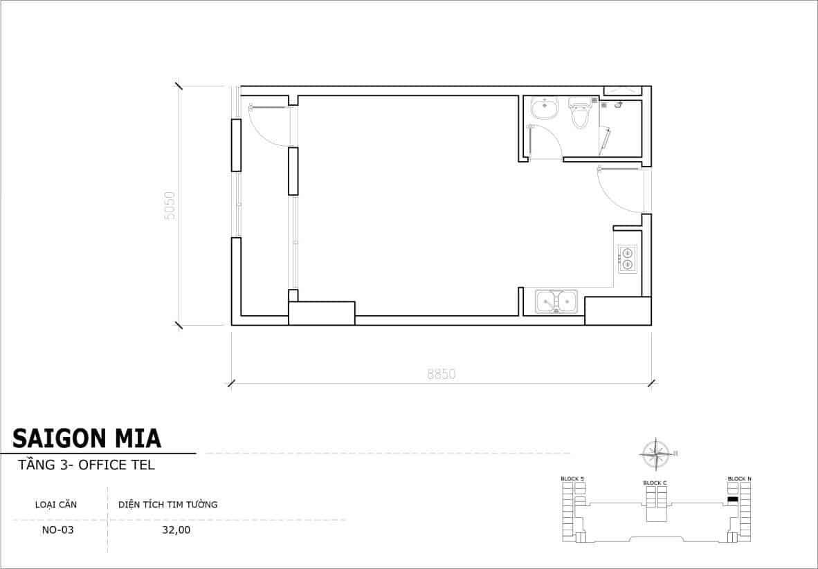 Chi tiết thiết Officetel Sài gòn Mia căn NO-03 (Tầng 3)