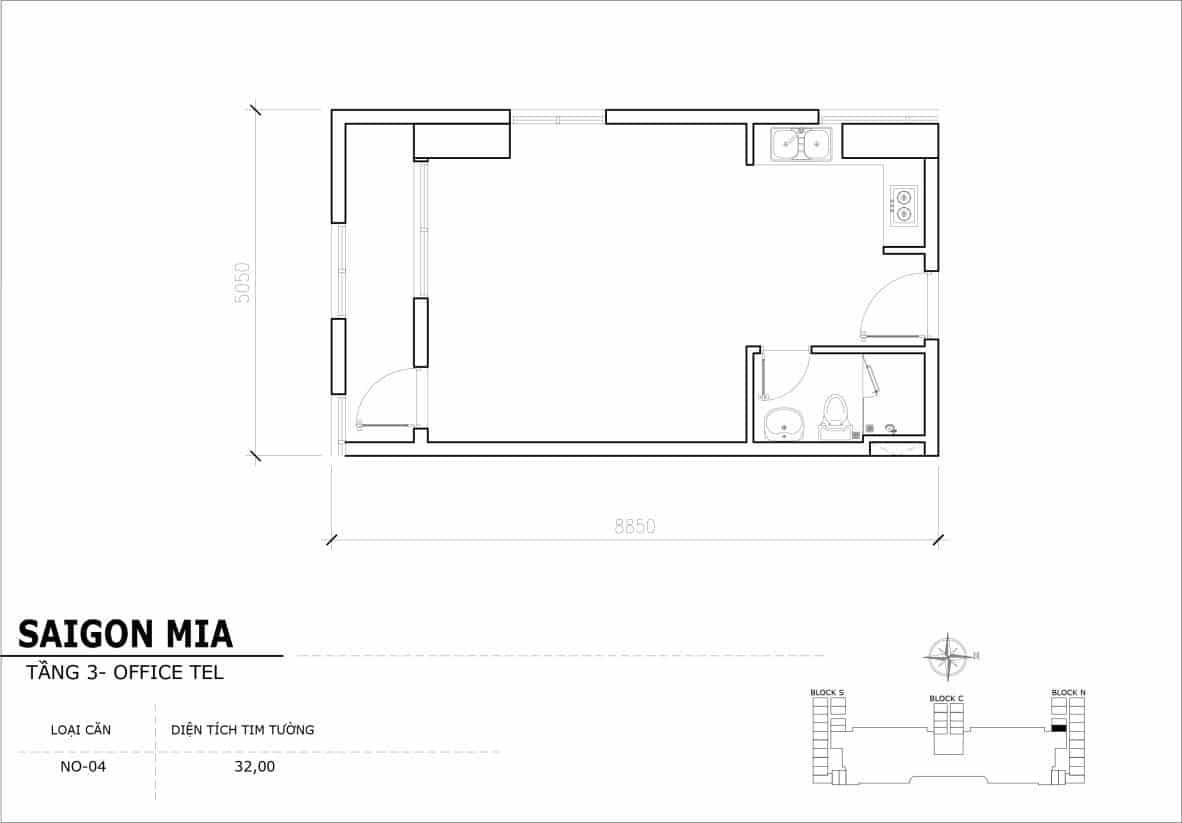 Chi tiết thiết Officetel Sài gòn Mia căn NO-04 (Tầng 3)