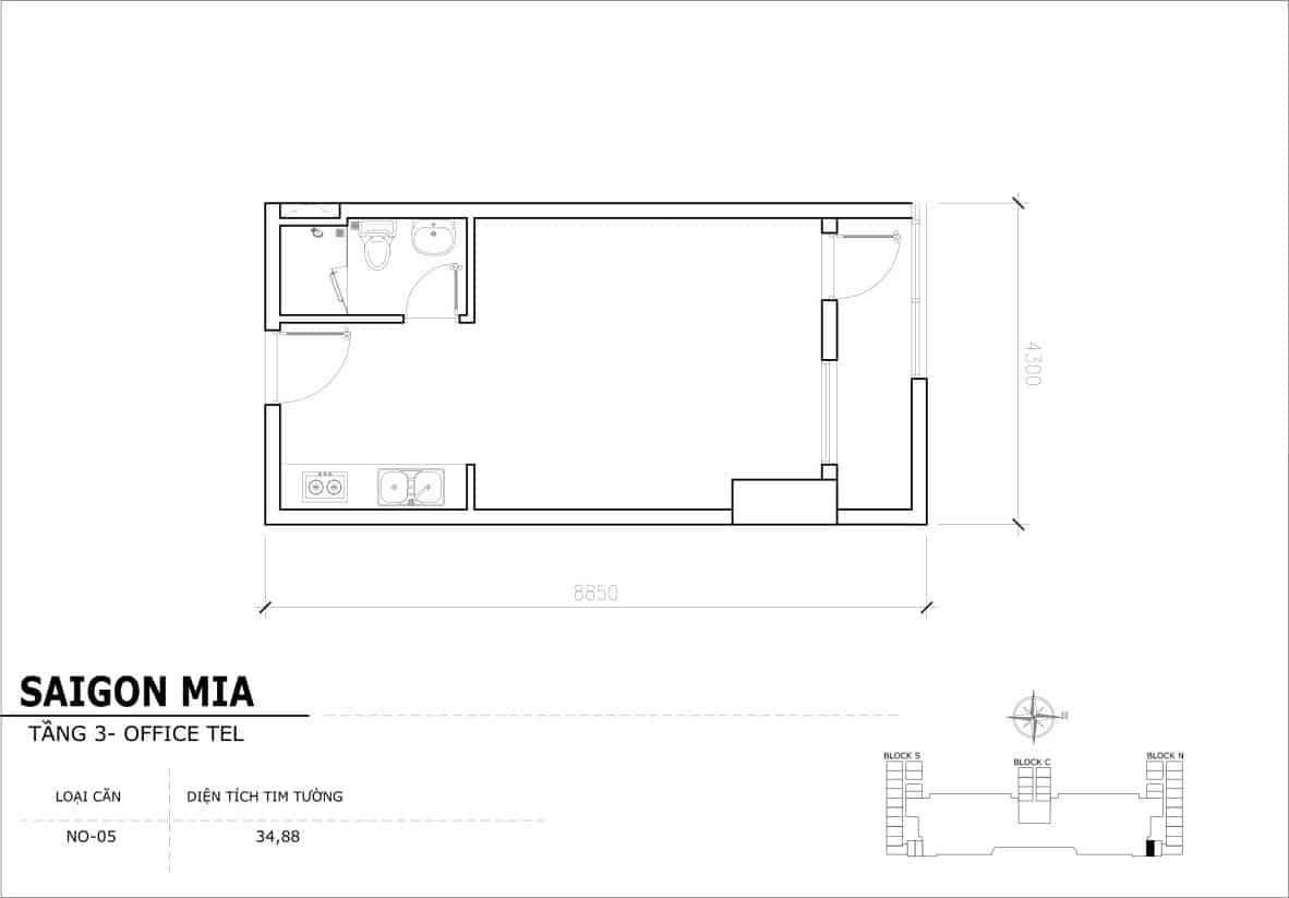 Chi tiết thiết Officetel Sài gòn Mia căn NO-05 (Tầng 3)