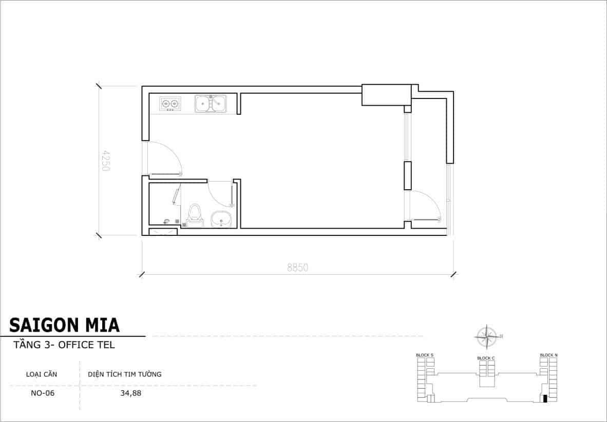 Chi tiết thiết Officetel Sài gòn Mia căn NO-06 (Tầng 3)