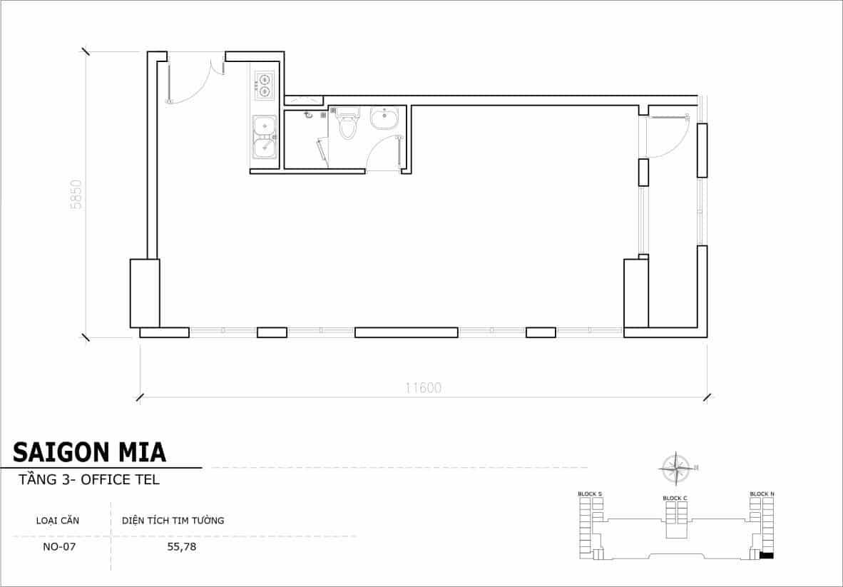 Chi tiết thiết Officetel Sài gòn Mia căn NO-07 (Tầng 3)