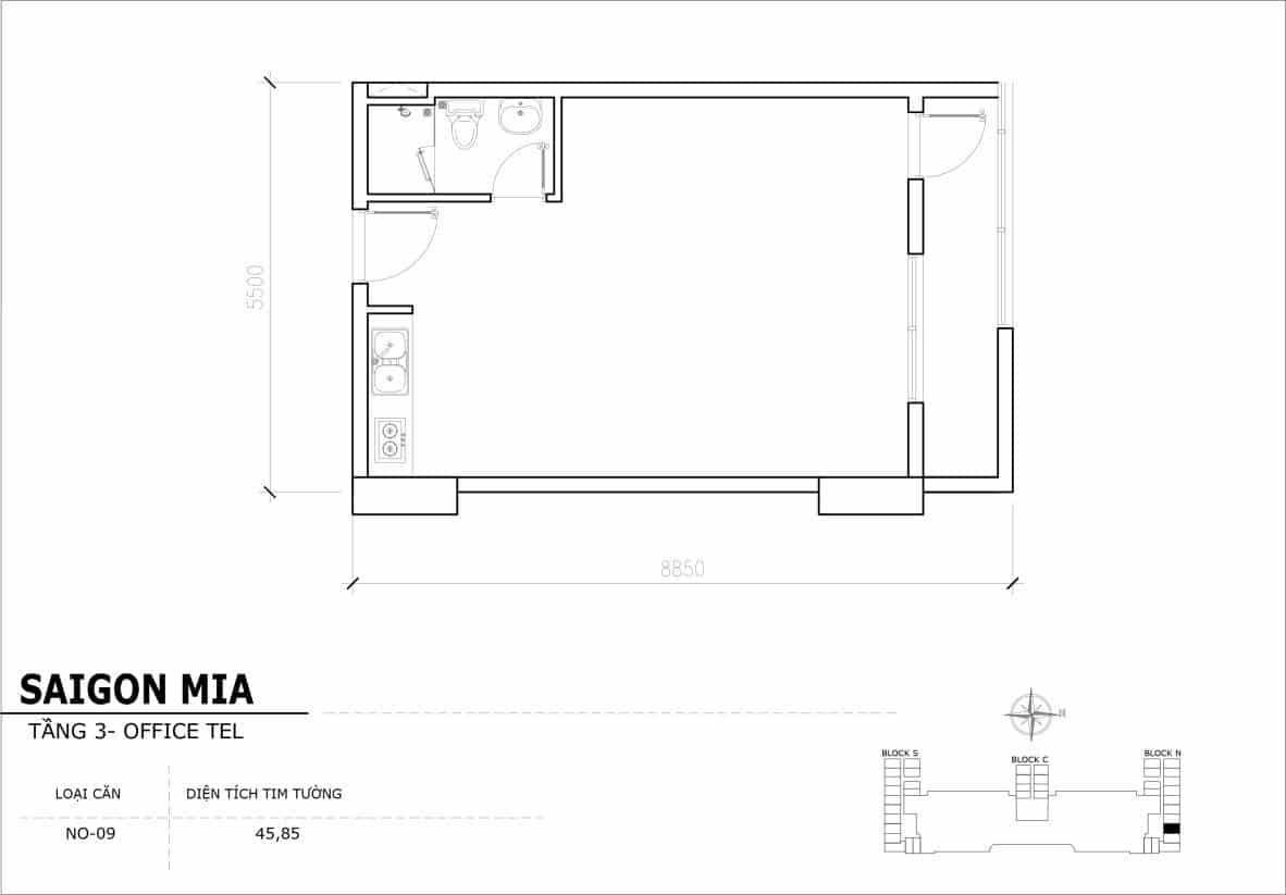 Chi tiết thiết Officetel Sài gòn Mia căn NO-09 (Tầng 3)