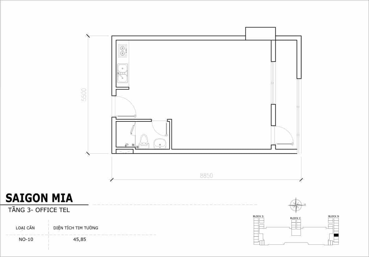 Chi tiết thiết Officetel Sài gòn Mia căn NO-10 (Tầng 3)