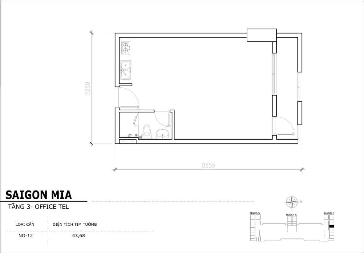 Chi tiết thiết Officetel Sài gòn Mia căn NO-12 (Tầng 3)