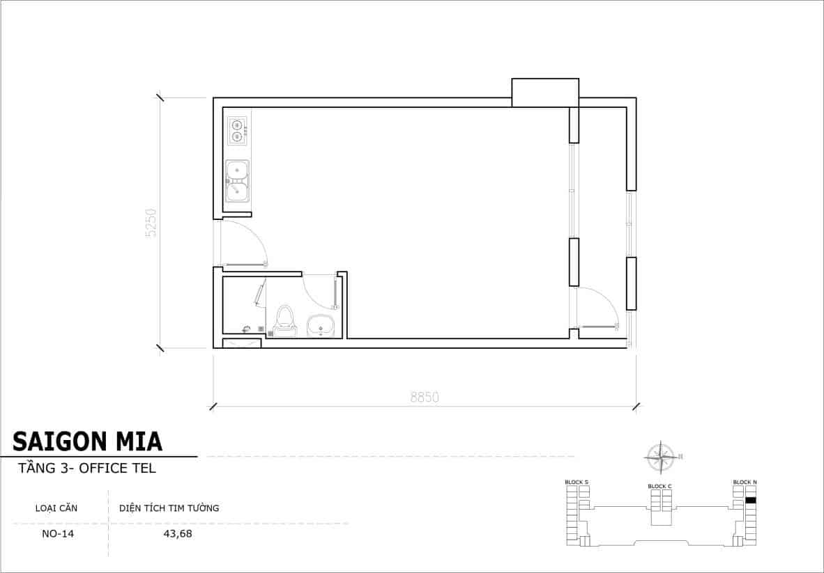Chi tiết thiết Officetel Sài gòn Mia căn NO-14 (Tầng 3)