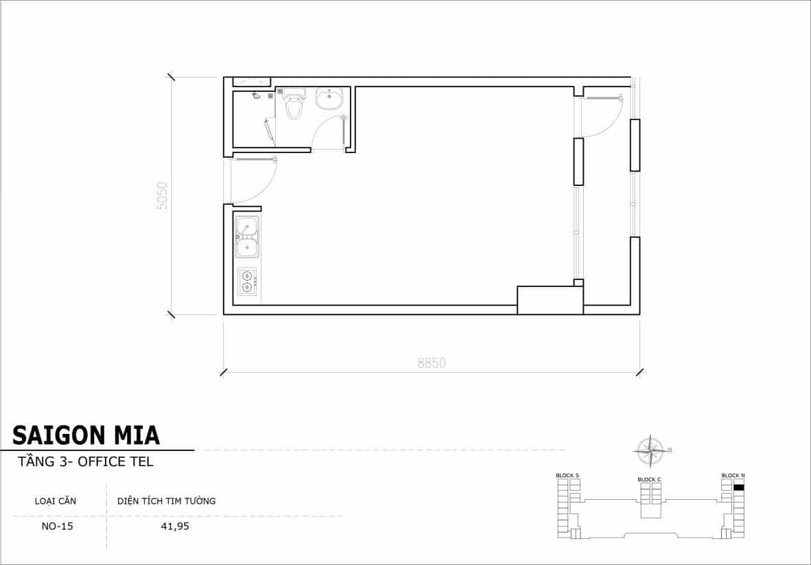 Chi tiết thiết Officetel Sài gòn Mia căn NO-15 (Tầng 3)