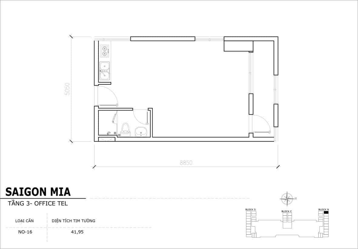 Chi tiết thiết Officetel Sài gòn Mia căn NO-16 (Tầng 3)