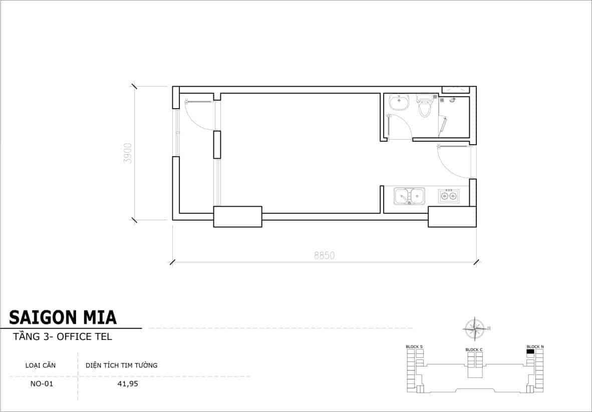 Chi tiết thiết Officetel Sài gòn Mia căn NO-01 (Tầng 3)