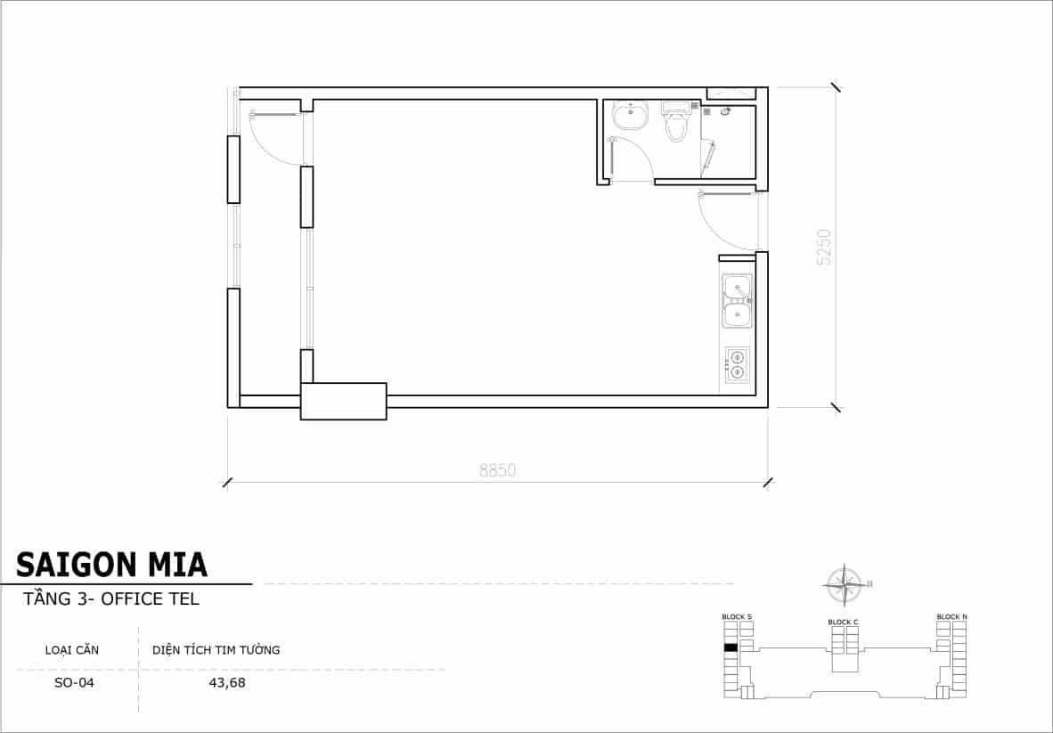 Chi tiết thiết Officetel Sài gòn Mia căn SO-04 (Tầng 3)