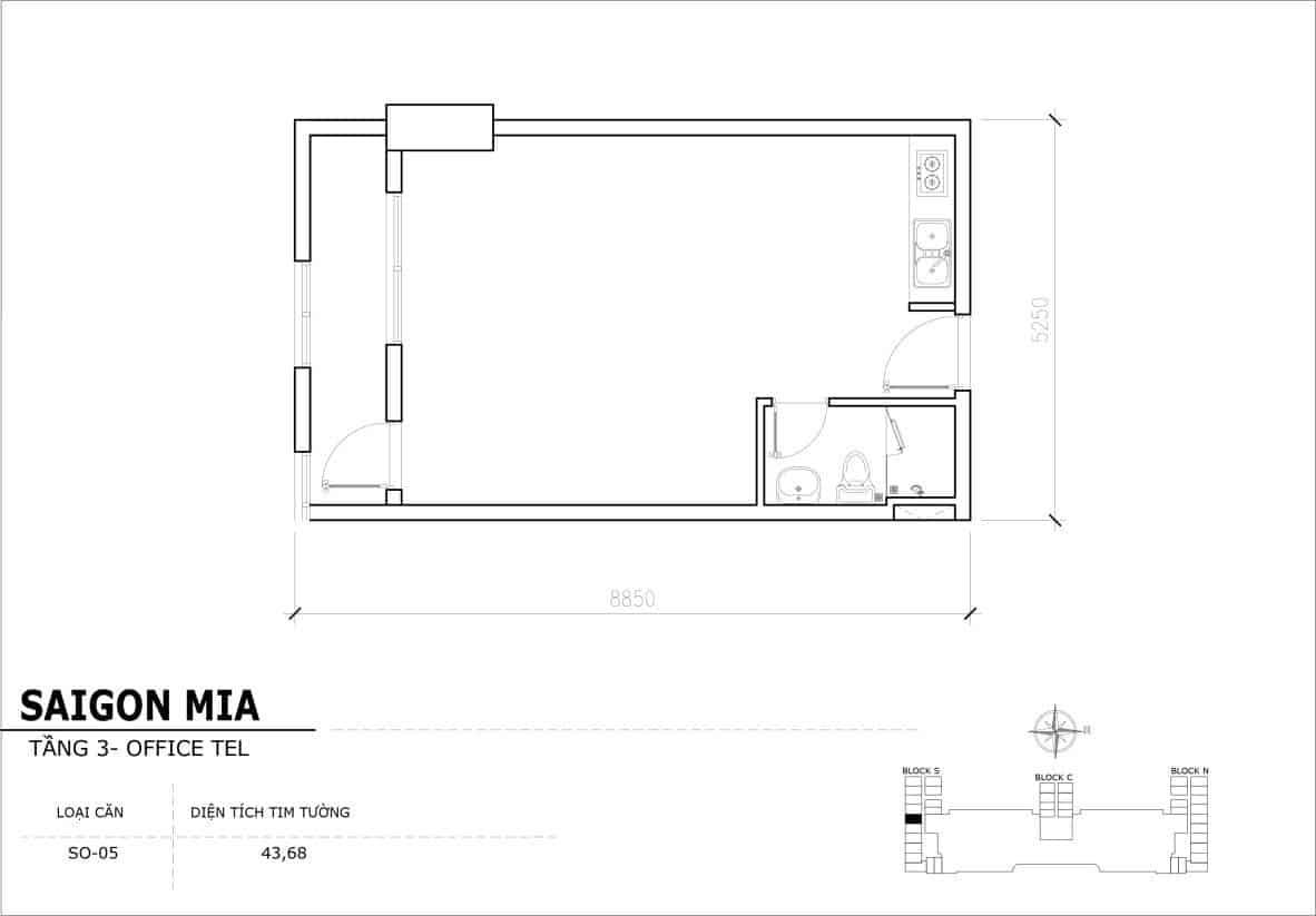 Chi tiết thiết Officetel Sài gòn Mia căn SO-05 (Tầng 3)