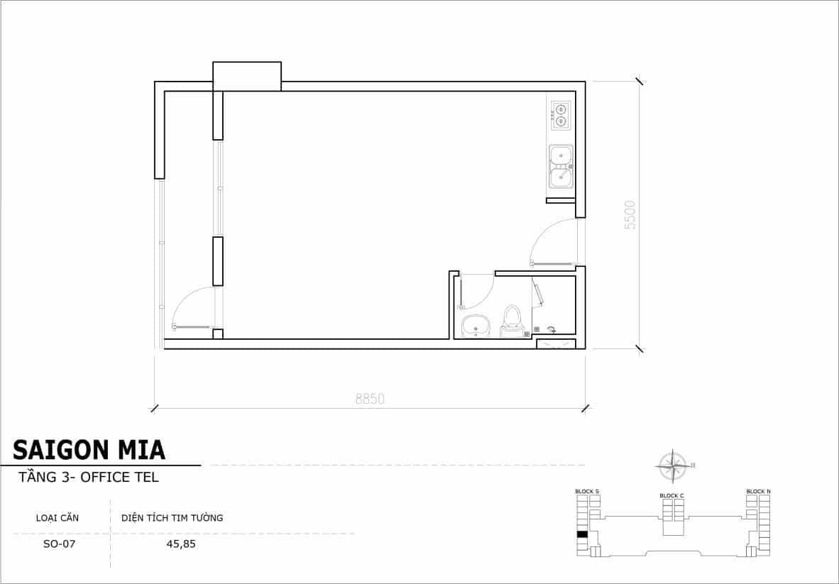 Chi tiết thiết Officetel Sài gòn Mia căn SO-07 (Tầng 3)