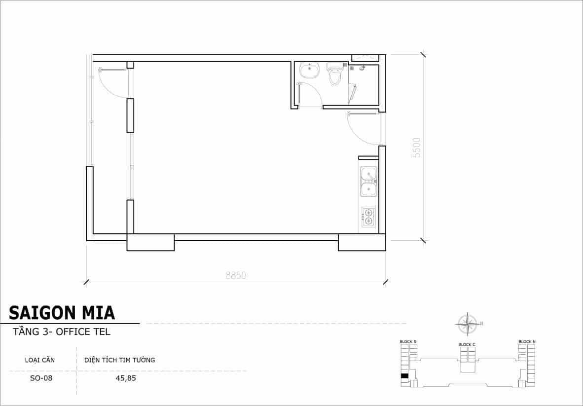 Chi tiết thiết Officetel Sài gòn Mia căn SO-08 (Tầng 3)