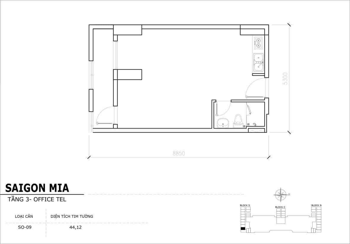 Chi tiết thiết Officetel Sài gòn Mia căn SO-09 (Tầng 3)