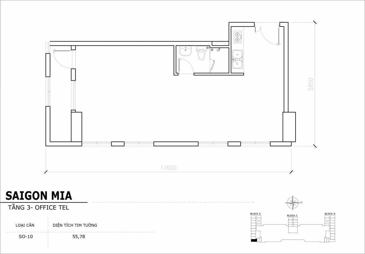 Chi tiết thiết Officetel Sài gòn Mia căn SO-10 (Tầng 3)