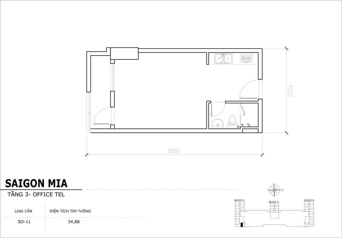 Chi tiết thiết Officetel Sài gòn Mia căn SO-11 (Tầng 3)