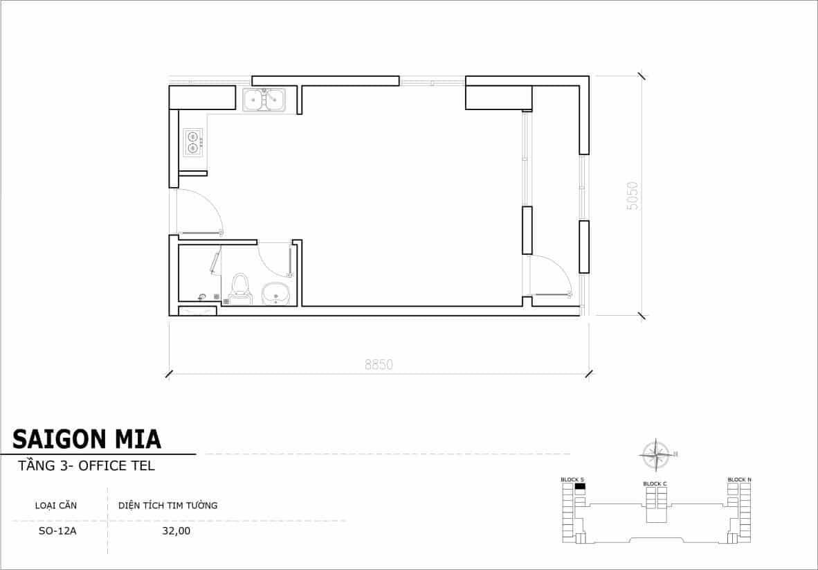 Chi tiết thiết Officetel Sài gòn Mia căn SO-12A (Tầng 3)