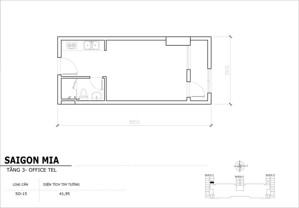 Chi tiết thiết Officetel Sài gòn Mia căn SO-15 (Tầng 3)