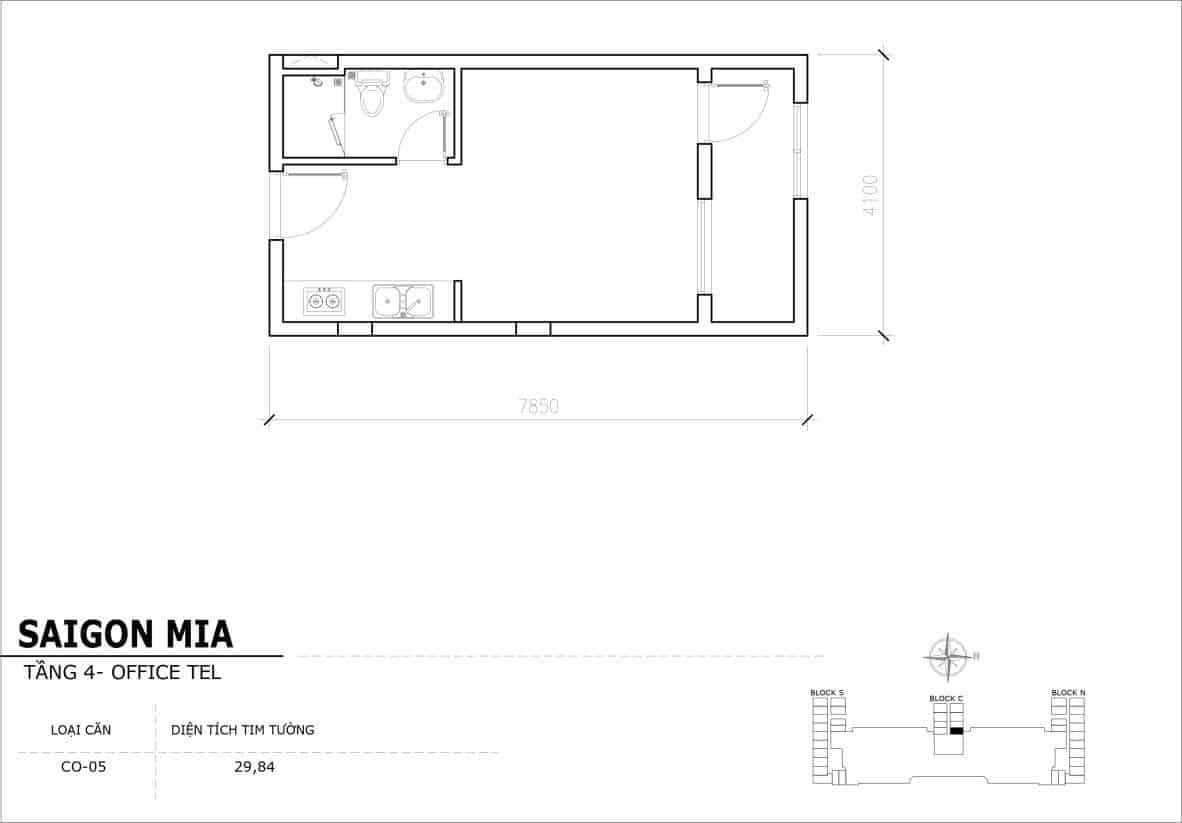 Chi tiết thiết kế Offcetel Sài Gòn Mia căn CO-05 (Tầng 4)