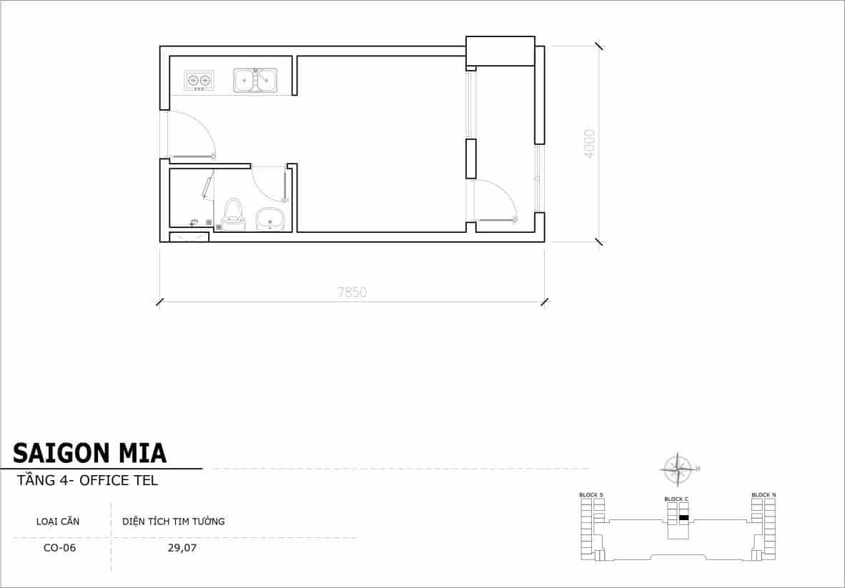 Chi tiết thiết kế Offcetel Sài Gòn Mia căn CO-06 (Tầng 4)