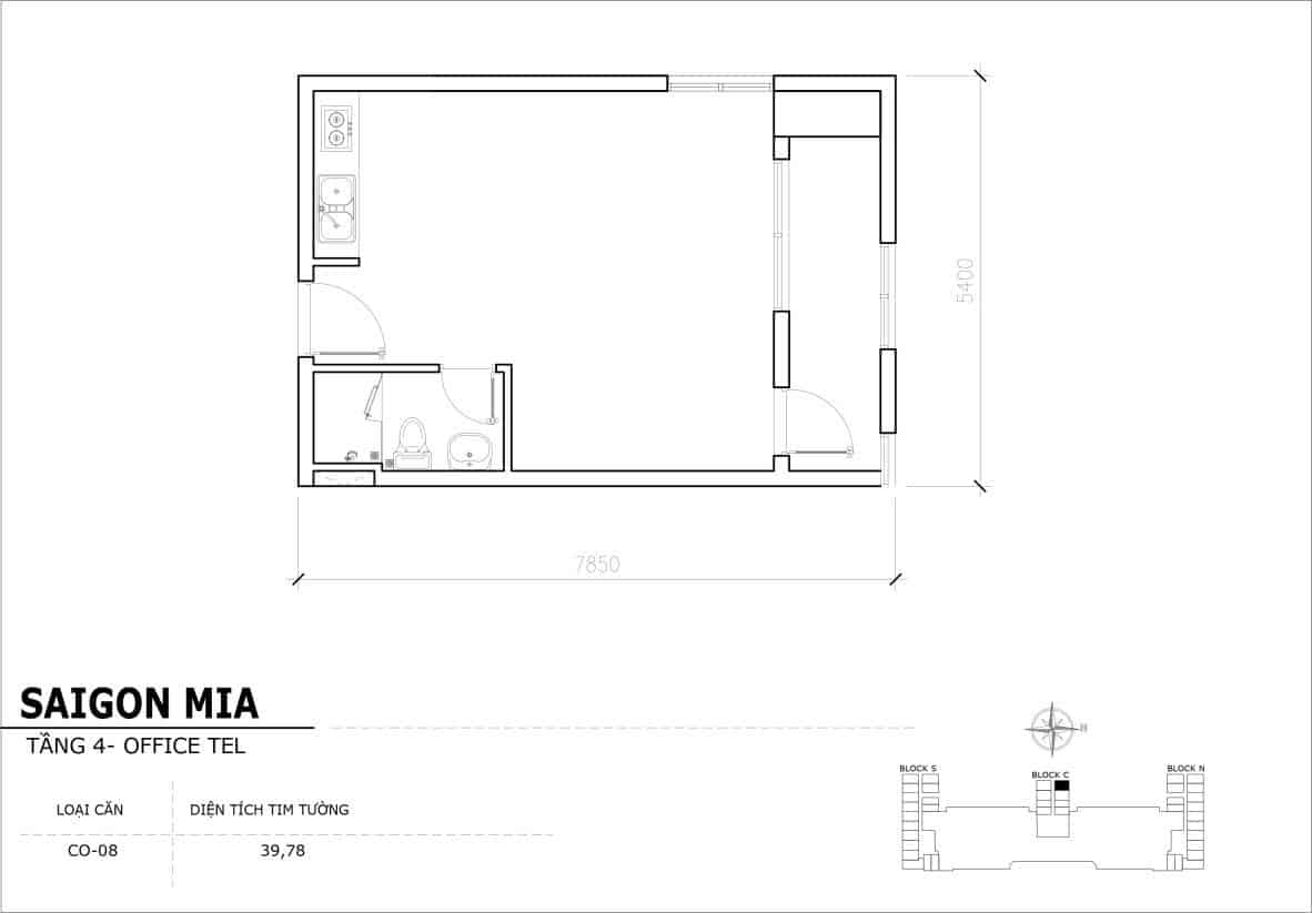Chi tiết thiết kế Offcetel Sài Gòn Mia căn CO-08 (Tầng 4)