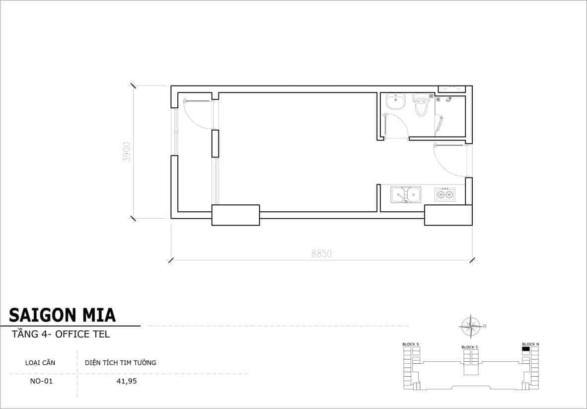 Chi tiết thiết kế Offcetel Sài Gòn Mia căn NO-01 (Tầng 4)
