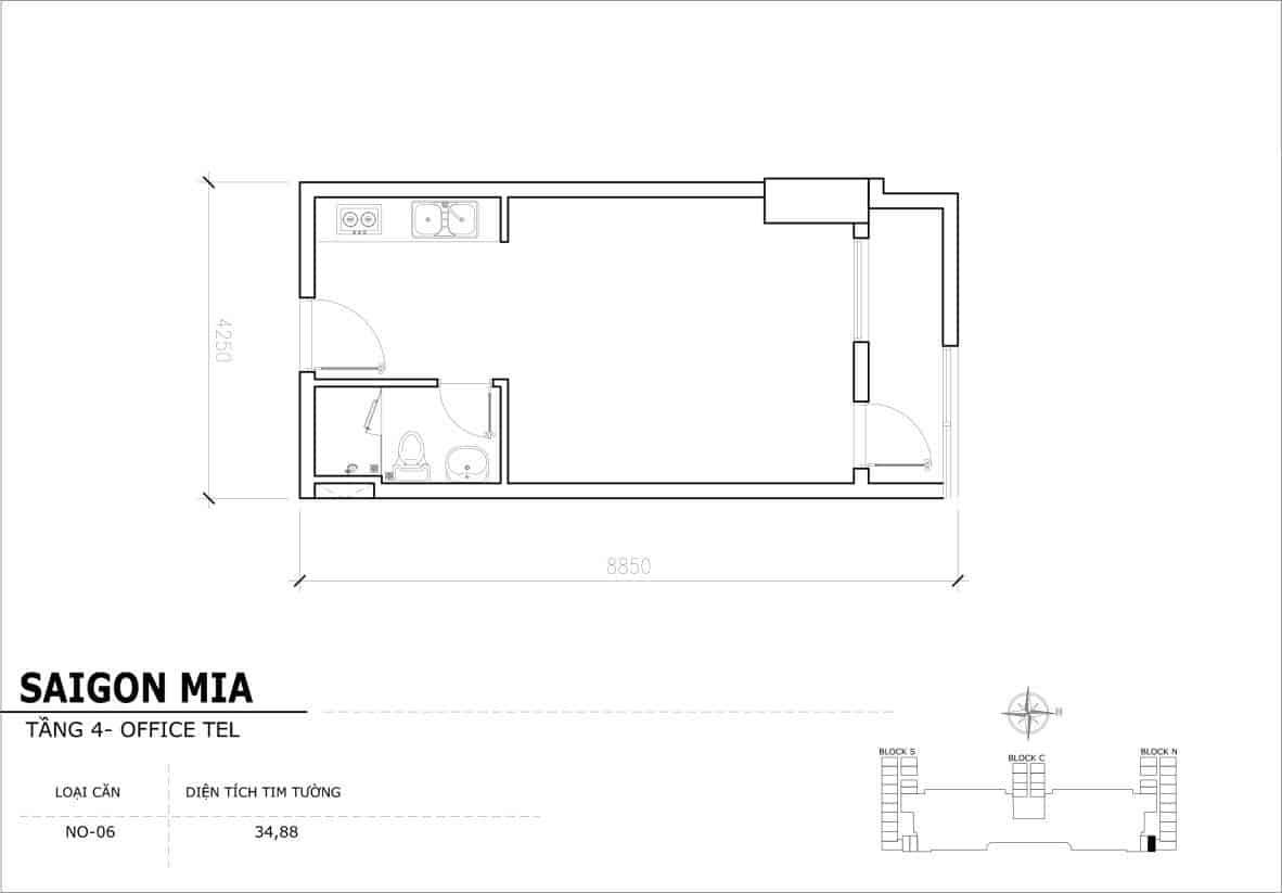 Chi tiết thiết kế Offcetel Sài Gòn Mia căn NO-06 (Tầng 4)