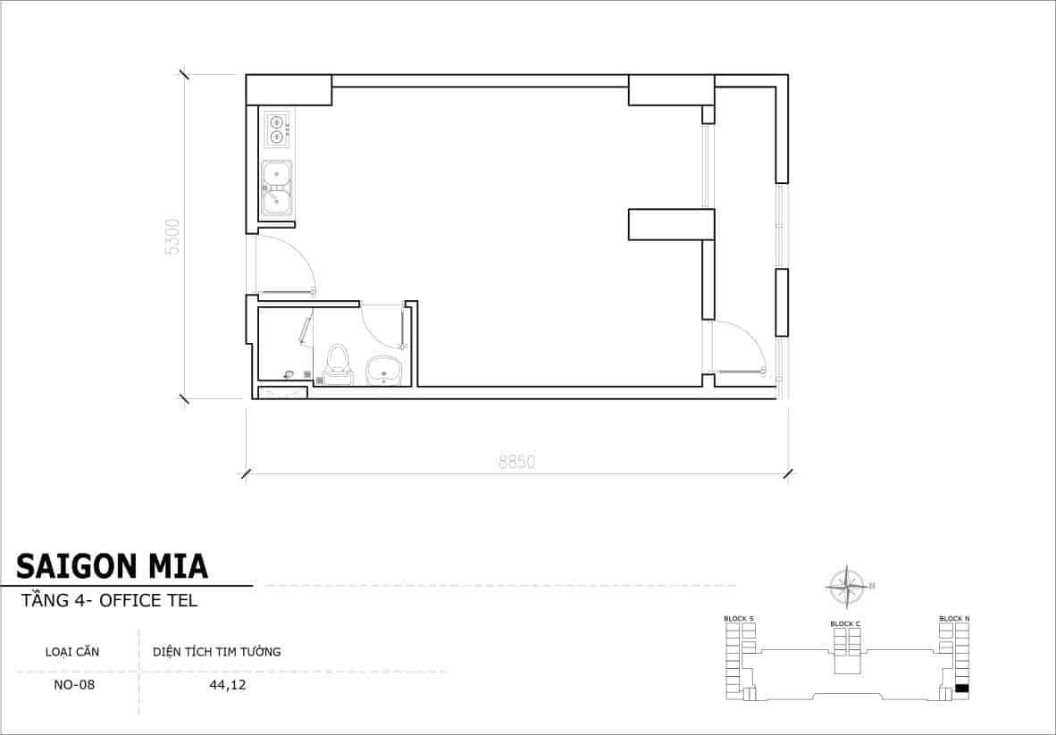 Chi tiết thiết kế Offcetel Sài Gòn Mia căn NO-08 (Tầng 4)