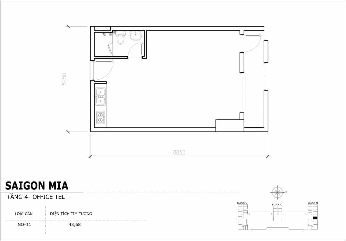 Chi tiết thiết kế Offcetel Sài Gòn Mia căn NO-11 (Tầng 4)