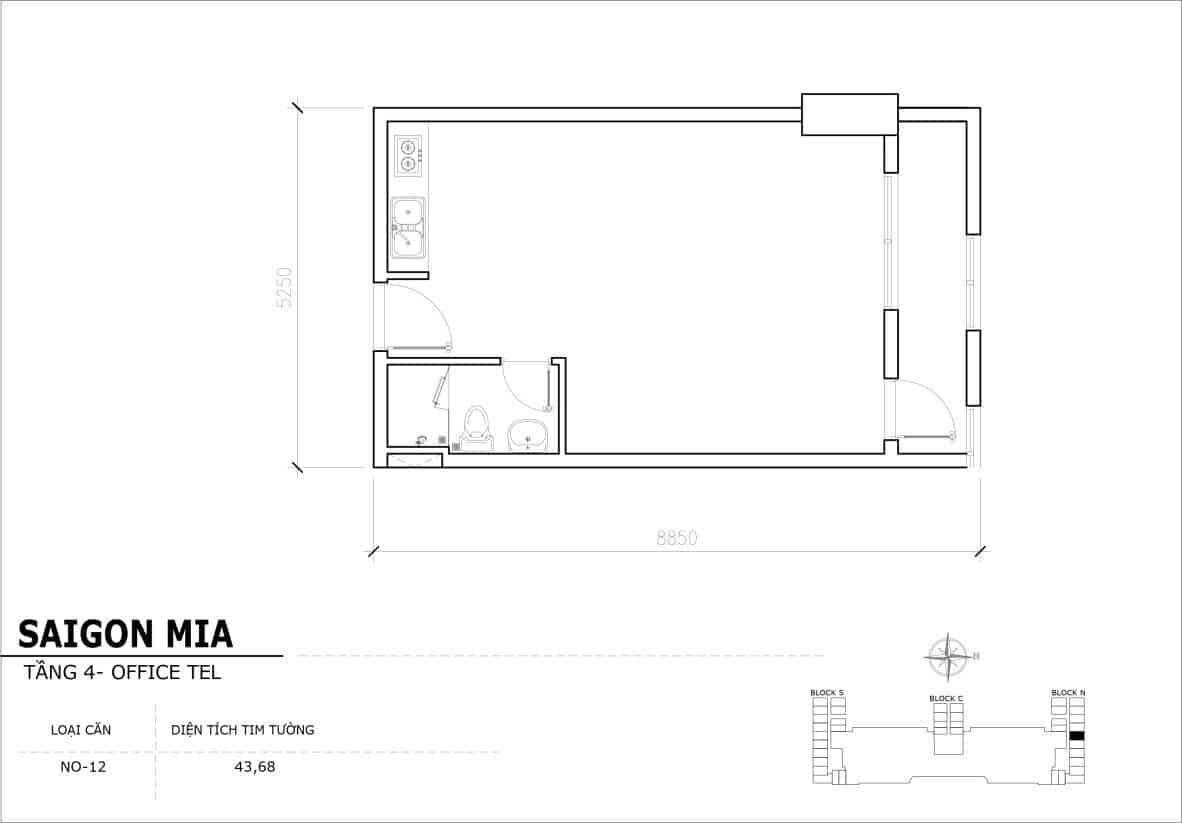 Chi tiết thiết kế Offcetel Sài Gòn Mia căn NO-12 (Tầng 4)
