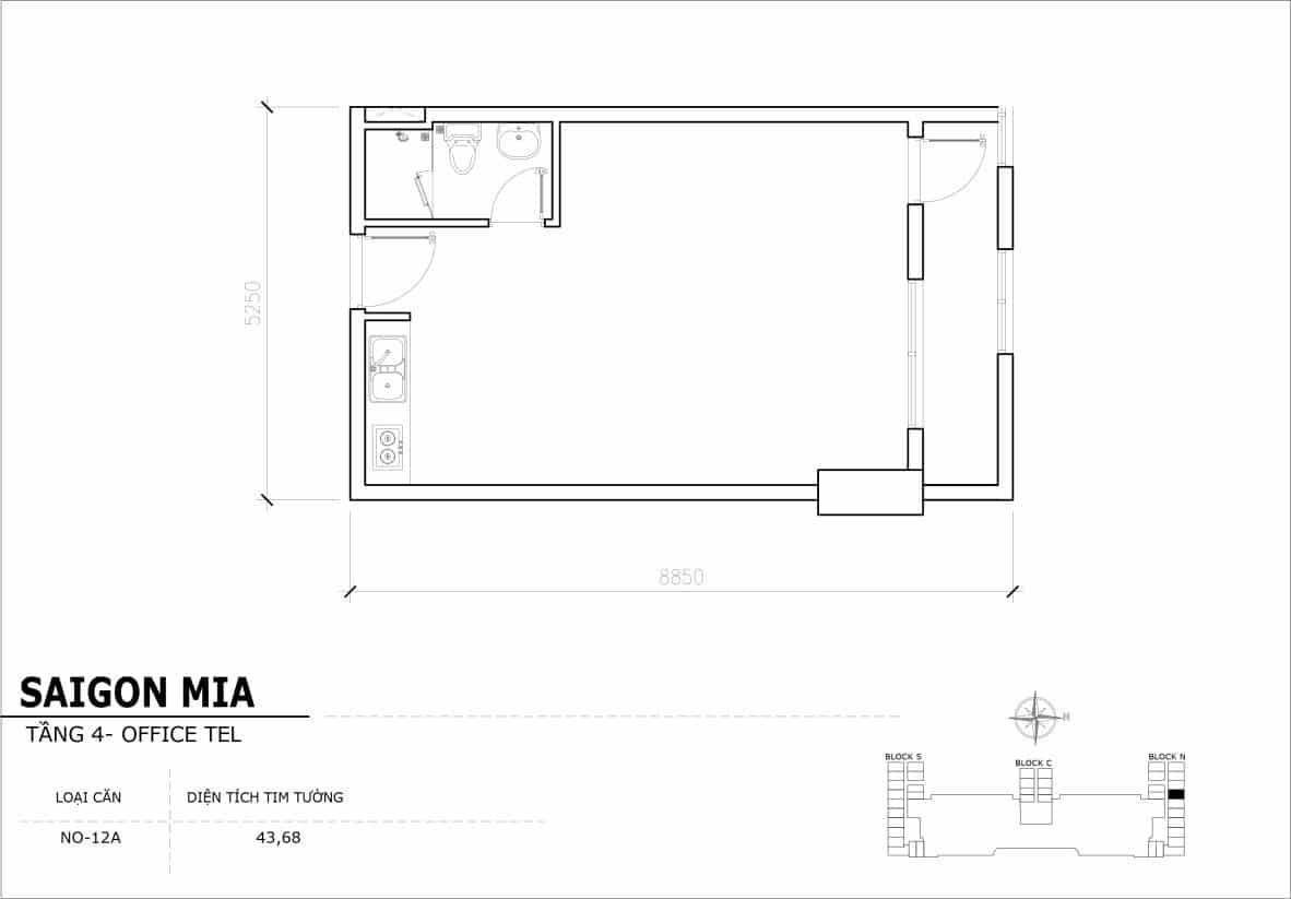 Chi tiết thiết kế Offcetel Sài Gòn Mia căn NO-12A (Tầng 4)