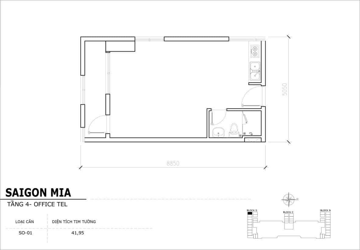 Chi tiết thiết kế Offcetel Sài Gòn Mia căn SO-01 (Tầng 4)