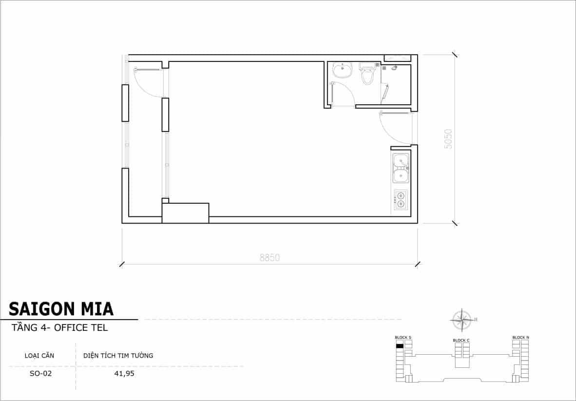 Chi tiết thiết kế Offcetel Sài Gòn Mia căn SO-02 (Tầng 4)