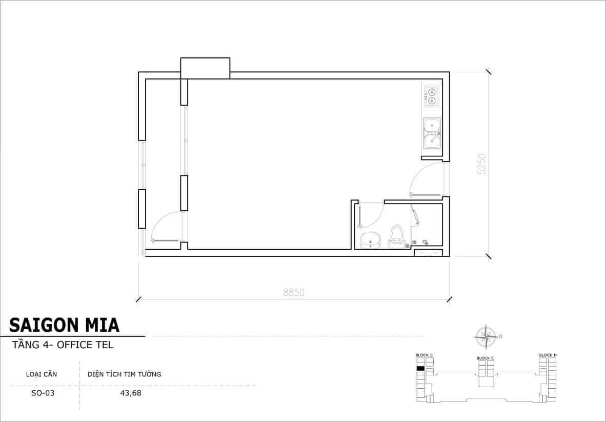 Chi tiết thiết kế Offcetel Sài Gòn Mia căn SO-03 (Tầng 4)