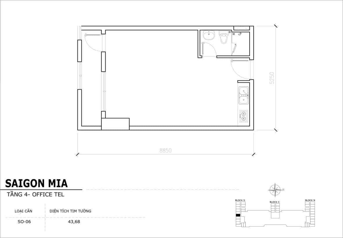 Chi tiết thiết kế Offcetel Sài Gòn Mia căn SO-06 (Tầng 4)